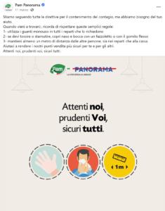 """Post di Pam Panorama: Infografica con scritto """"Attenti noi, prudenti voi, sicuri tutti"""""""