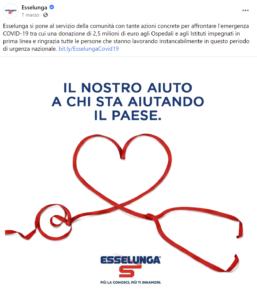 Esselunga comunica su Faebook una raccolta fondi da destinare agli ospedali